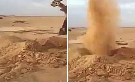 Συντριβάνι από άμμο στη μέση της ερήμου (βίντεο)
