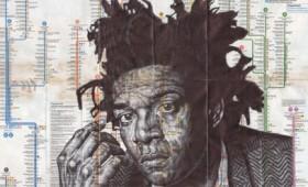 Κολάζ παλιού έντυπου υλικού, το φόντο για τα πορτρέτα του Μαρκ Πάουελ