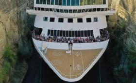 Το μεγαλύτερο πλοίο που διέσχισε ποτέ τη διώρυγα της Κορίνθου (vid)