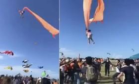 Κοριτσάκι σηκώνεται στον αέρα από χαρταετό (vid)