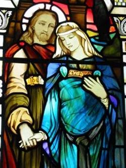 Ο Ιησούς και η Μαρία Μαγδαληνή. Βιτρώ του καλλιτέχνη Στήβεν Άνταμ (1847-1910) στην Εκκλησία Kilmore, Dervaig, Νήσος Μαλ, Σκωτία. Πηγή: Supplied