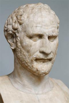 Προτομή του Δημοσθένη (Βρετανικό Μουσείο, Λονδίνο). Ρωμαϊκό αντίγραφο του Έλληνα γλύπτη Πολύευκτου (περ. 280 π.Χ.).