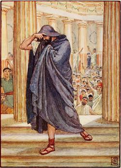 Ο Δημοσθένης εγκαταλείπει την Εκκλησία του Δήμου χλευαζόμενος από τους Αθηναίους.