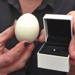 Βρήκε ένα διαμάντι μέσα στο βραστό αυγό της